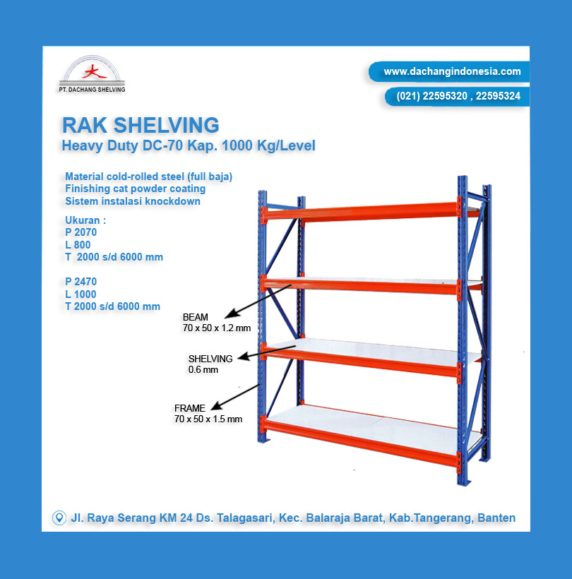 Rak Shelving Heavy Duty Kap. 1 Ton
